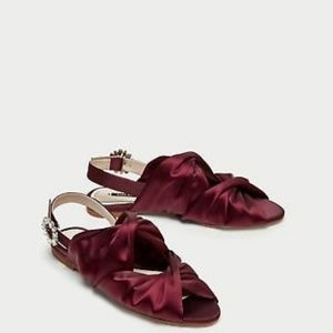 Zara Burgundy Satin Jewelled Flat Sandals size 40